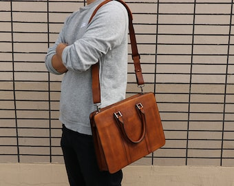 New Briefcase,Gifts For Mens,Leather Briefcase,14 inch laptop bag,Mens Briefcase,Cross Body Bag,Laptop Bag,Leather Briefcase, Satchel