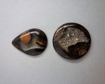 Simbircite ammonite with silver pyrite natural stone cabochon set lot of 2, rare unique fossil, round and tiardrop cabochon.
