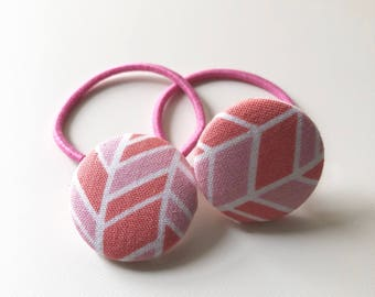 Button Top Hair Ties- Coral and White Chevron,  Ponytail holder, hair tie, hair elastic, Covered Button Hair Accessory