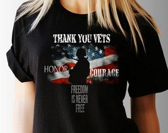3c275f02 Veterans Day. Thank you Vets. Freedom TShirt. Freedom Shirts. Freedom Tee. American  Pride Shirt. Patriotic T-Shirt. USA T-Shirt. Women's Tee