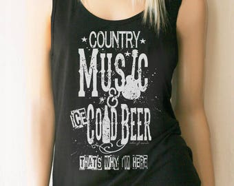 073adee9a769d Women s Country Music   Ice Cold Beer Full Back Tank. Country Tank Tops.  Country Shirt. Drinking Shirt. Festival Tank.