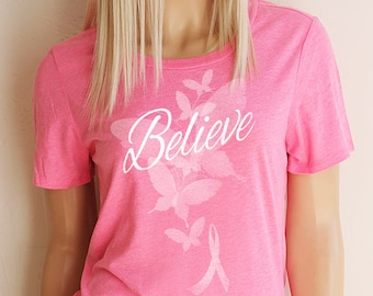 Believe Pink Breast Cancer Crew Neck T-Shirt