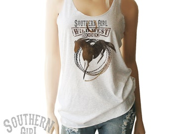 Southern Girl Rodeo Tank. Southern Girl Tank. Southern Girl Shirt. Country Girl Tank. Cowgirl Tank. Country Clothing. Country Girl Shirt.