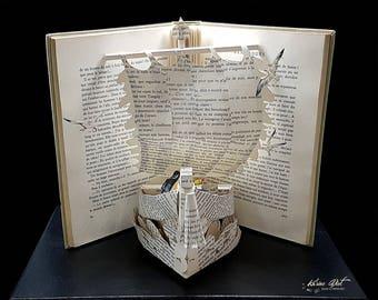 "Book Sculpture - Paper Art - Miniature Diorama "" Sailors"""