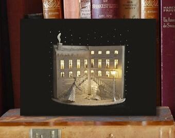 """Paper Sculpture Fineart Postcard """"The little match girl n-2"""" - HC Andersen"""