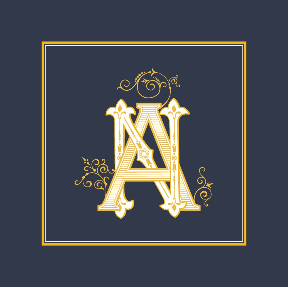 Wedding logo NA , AN   Vintage Monogram   Wedding Clip Art