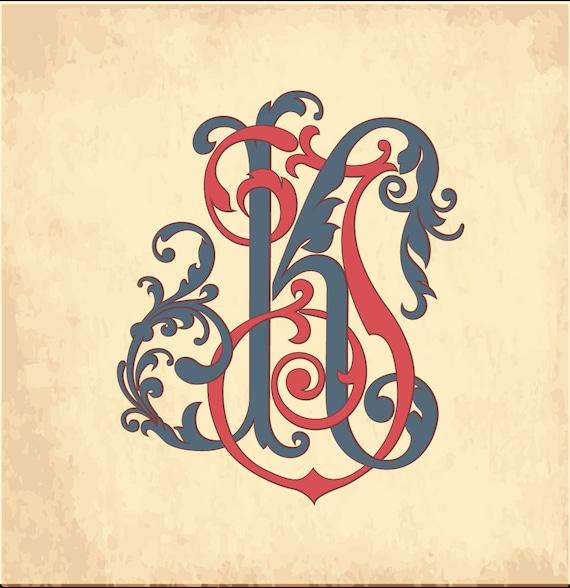 Vintage Monogram Kj Wedding Logo Wedding Clip Art Etsy