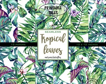 Tropical Leaves Digital Paper, Seamless Papers, Tileable watercolor paper, Leaves and butterflies, watercolor butterfly, Floral Pages