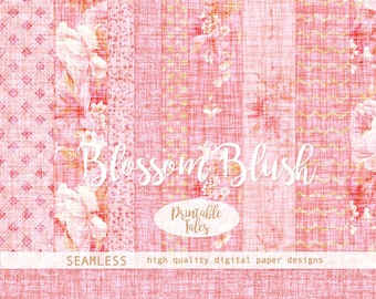 Seamless Blossom Blush Floral Digital Paper, Flower files, White Roses, Pink Rose Bud, Gold Chevron, Pink Backgrounds, Dots | Commercial Use
