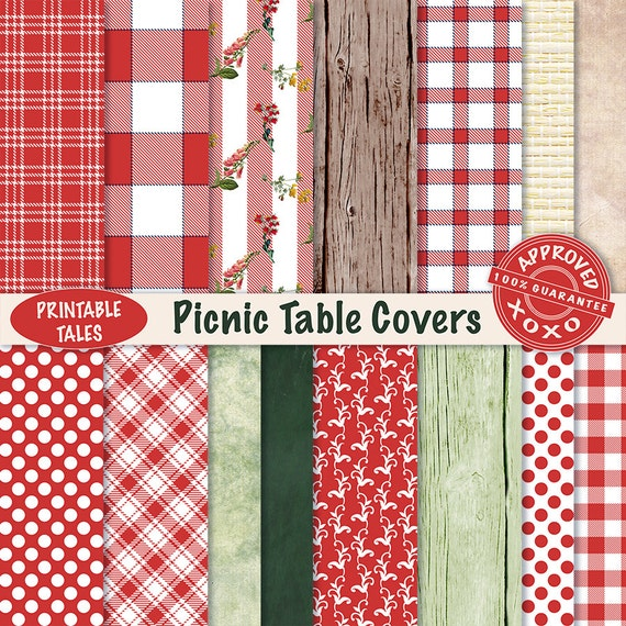 scrapbook paper picnic table covers digital papers plaids etsy