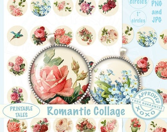 Floral Circle Digital Images, Flower Collage Sheet, bottle caps, blush pink Roses, Birds, Round Pictures Victorian, 1 + 1.5 in