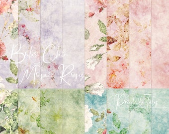 Floral digital paper, Flower Papers, Emerald Pages, Blush pink Roses, Grungy Scrapbook paper, Boho Chic Background, Commercial use