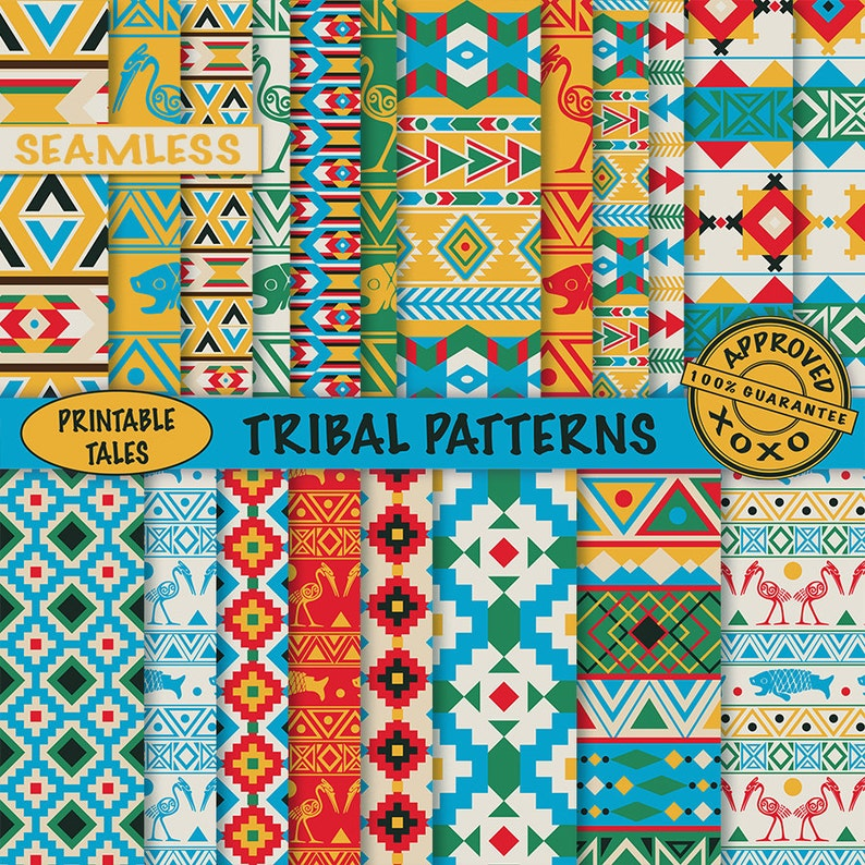 Matching Clipart Available Tribal Digital Papers African Aztec Native American Boy Scrapbook Pages Seamless Birds Fish Commercial use