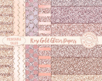 Rose Gold glitter digital papers, shiny Blush Pink Metallic Page, Glam background download, digital planner paper chevron, dots stripes