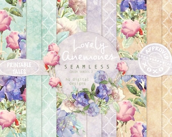 Floral seamless digital design, tileable flower design, anemones and roses, Quatrefoil, Grungy Background, printable on fabric, Home Deco