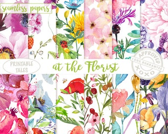 Watercolor Flowers Digital Paper, Seamless Floral Papers, poppy, iris, rose, dandelion, buttercup, hyacinth, passion flower - Blooming Pages