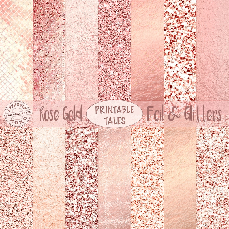 Rose Gold Foil Glitter Digital Papers Metallic Pages Etsy