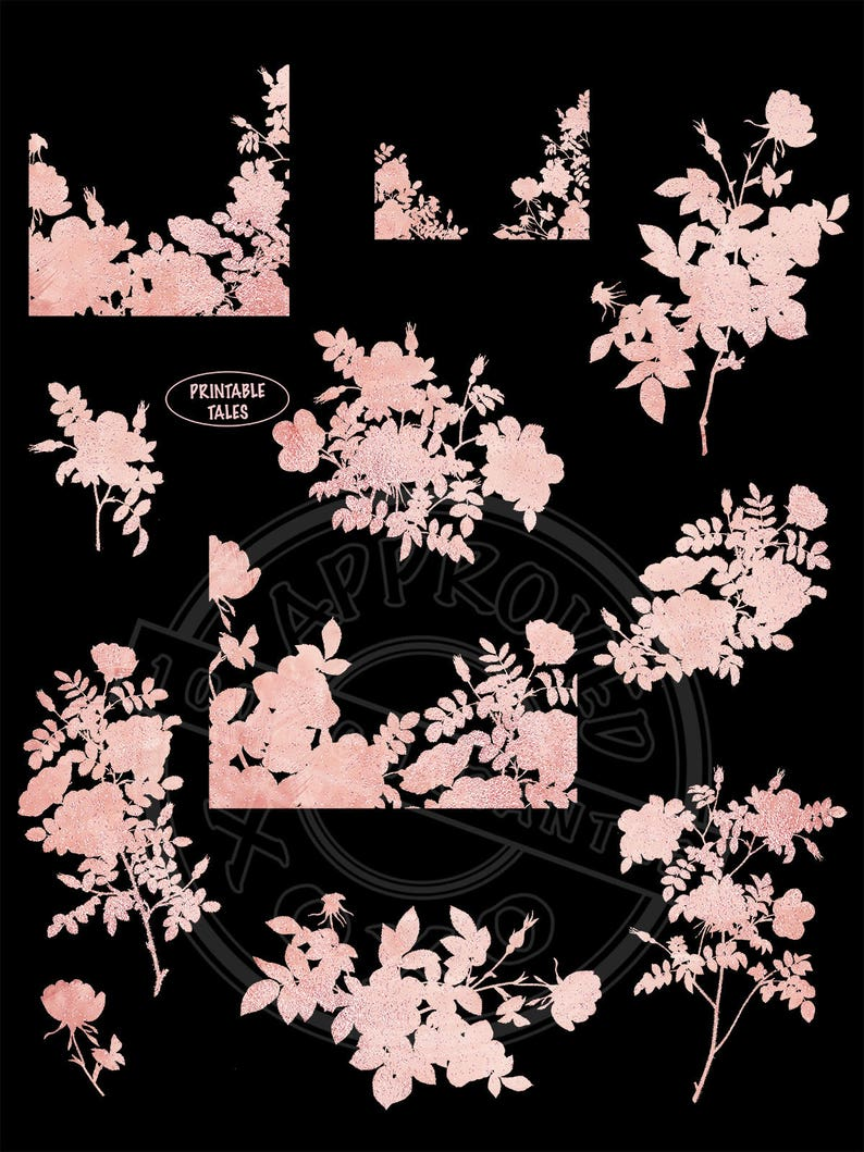 Glitter card decoration wedding invitation Rose Gold Clipart Floral Silhouettes blush pink shimmering flower shapes RG01 Branche overlays