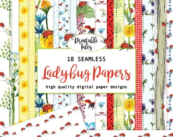 Watercolor Floral Ladybug Digital Paper - Seamless - Tileable design - Blooming Pages - pretty paper - hand painted paper - background paper
