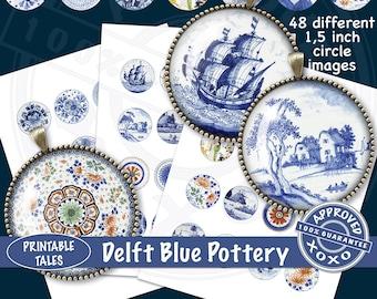 Bottle Caps China Collage Sheet 'Delft Blue Pottery' 1.5 inch Circle Cabochon, Printable Pendant Images, Bottle Caps paper, Scrapbook icons