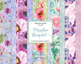Mix & Match Floral digital Papers, Watercolor Meadow Flowers, Tileable files, Seamless watercolor background, hand painted field flowers