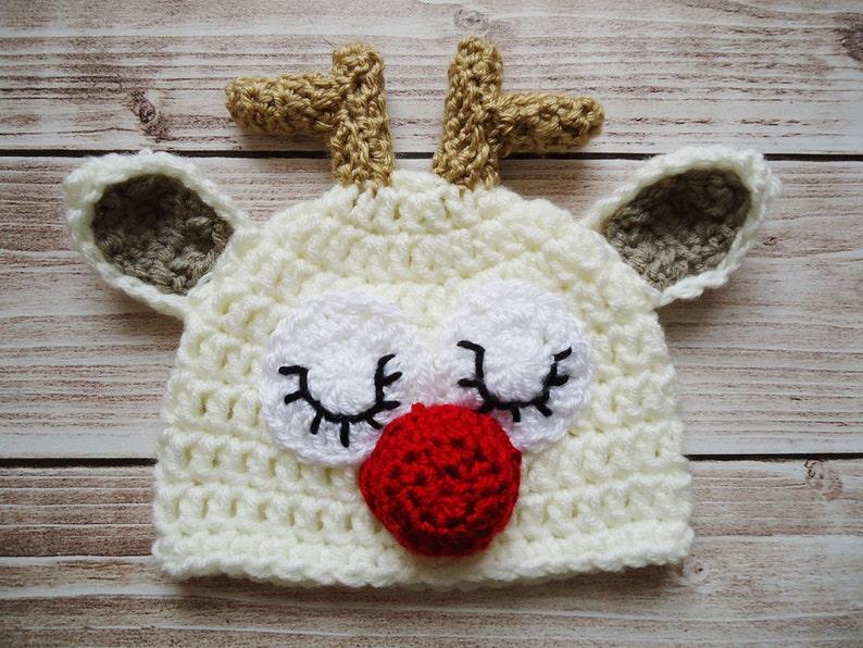 2b3c958719354 Crochet reindeer Hat Newborn reindeer hat Baby reindeer hat