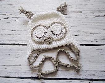 Crochet Owl Hat, Newborn Owl hat, Baby Owl hat, White owl hat