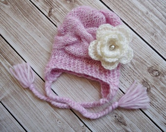 Baby Hat, Baby Girl Hat Newborn Hat Photo Prop, Baby Knit Hat Girl Hat, Baby Boy Hat, Earflap Baby Hat, photo prop baby hat