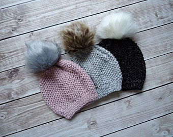 Girl Hat,  Girl Beanie, Slouchy  Hat, Knit Baby Girl Hat, Faux Fur PomPom Hat, Ladys Pom Pom Hat