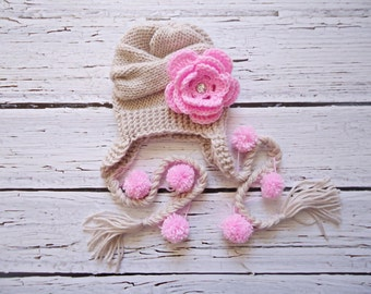 Baby Knit Hat, Baby Girl Hat, Newborn Hat Photo Prop, Baby Knit Hat, Girl Hat, Baby Boy Hat, Earflap Baby Hat, photo prop baby hat