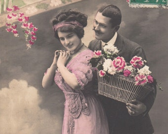 Romantic vintage french lovers postcard . Romantic victorian post card. Greetings postcard.