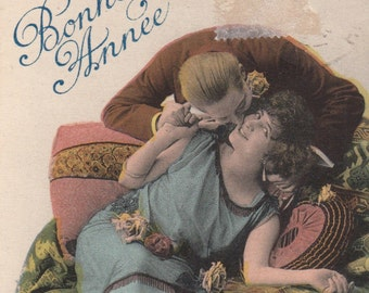 Romantic vintage french lovers postcard . Romantic victorian post card. New-Year postcard.