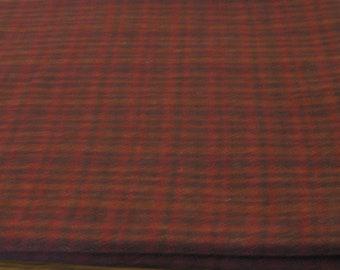 SMOKED PAPRIKA Plaid Mill-dyed 100% Wool, 1/4 yard, Washed & Fulled.