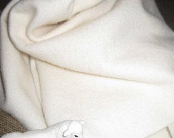 1 YARD Dorr #163 Solid WHITE 100 Percent Wool fabric. (Not Bright White)