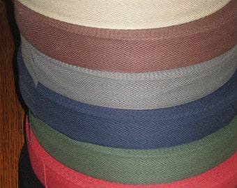 """Cotton Rug Binding Tape 1-1/4"""" wide:  8 Color choices, Rug Hooking supply, 10 YARD Min./Increments (.85/yd)"""