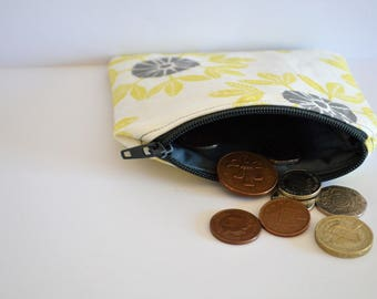 FLORAL PURSE, coin holder, floral print, surface design, gift for her, handmade, zipper pouch, cotton, fresh style purse, lino print, fabric