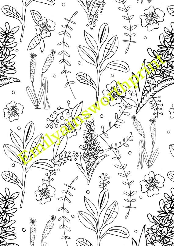 Coloración de hojas motivos florales hojas A4 para colorear   Etsy