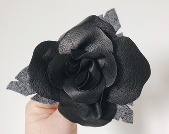 3rd anniversary, limited edition, black leather rose - third anniversary gift - handmade flower - personalised anniversary