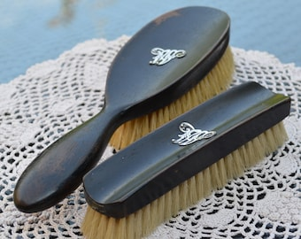 Antique Ebony Wood Brushes Dark Almost Black Wooden Handles with Natural Bristles Both with Silver Initial W Grooming Accessory c.1910-20s