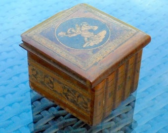 Antique Sorrento Olive Wood Travel Inkwell Box - Books Puzzle Box with Hidden Lock - Fine Inlaid Tunbridge Ware Work - Dancers on Lid C.19th