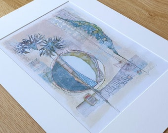 A3 Mounted and Backed Giclee A4 Print - 'Two Thistle Stems'