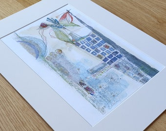 A3 Mounted and Backed Giclee A4 Print - 'Blue Vase With Lillies'
