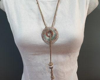 Artisan porcelain pendant on Irish waxed linen adjustable necklace. #NL04
