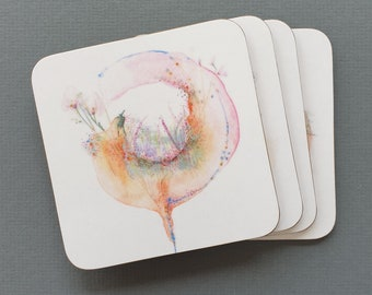 Set of 4 Drinks Coasters with Cork Backing  | Coasters | Melamine Coasters | Housewarming Gift | Tea Coffee Cup Mats | Birthday Gift