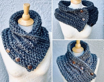 Hand Knitted Cowl Scarf, Neck Warmer for Women, Shoulder Wrap with 3 small coconut buttons, Gift of Mom, Gift for Girlfriend, Wife