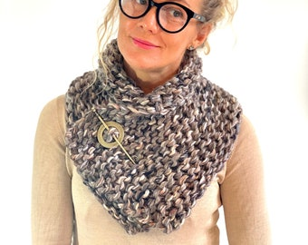 Outlander Sassenach Scarf, Shawl, Cowl, Knitted Wrap, Shoulder Warmer in Taupe Multi Color, Gift for Mother, Gift for Girlfriend