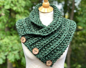 Hand Knit Scarf, Shoulder Wrap, Neck Warmer, Mini Poncho with 3 Buttons in Forest Green, Gift for Mother, Outlander fan Gift