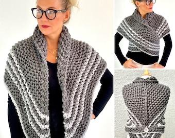 Outlander Shawl, Sweater Wrap, Chunky Hand Knitted Shoulder Warmer for Women, Vegan Yarn, Outlander Gift, Gift for Mom, Her, Girlfriend