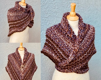 Outlander Shawl, Triangle Sweater Wrap for Women, Chunky Hand Knitted Scarf, Shoulder Warmer, Merino wool/acrylic blend, Outlander fan gift