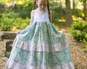 81b19f0f2d Girls Maxi dress, halter dress, girls special occasion dress, toddler dress,  baby maxi dress, floral dress, summer dress, ruffled dress